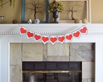 Wedding party pennant banner, ALL RED HEARTS, rustic celebration decor decorations