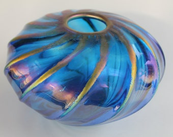 Glass Bowl - Hand Blown - Iridsecent Blue - Free Shipping