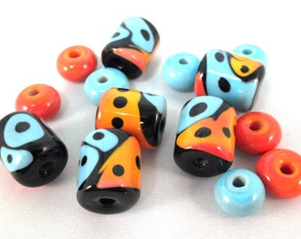 Unique, Handmade Glass Beads, Lampwork Glass Beads, SRA, Turquoise Coral Beads, Bead Set, Artisan Lampwork Beads