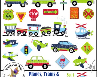 Planes, Trains & Automobiles Oh MY! Set 1 digital graphics - 27 png files - includes vehicles and road signs { Instant Download }