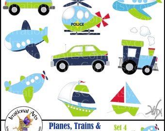 Planes Trains & Automobiles Oh MY!  Set 4 INSTANT DOWNLOAD digital graphics set of 9 png files FireTruck Police sailboat Blue Green Yellow