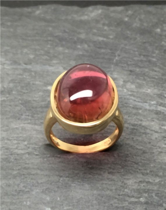 16x12mm 10.14 Carat Brazilian Red Salmon Tourmaline set in 14K yellow gold ring, also available in White gold 0262