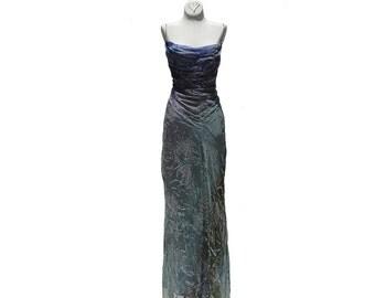 Green Purple Silk Beaded Dress