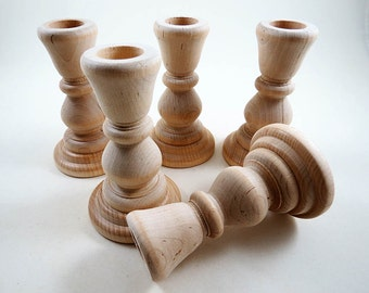 5 Wood Candle Holders, Candlesticks, DIY Wedding, Wedding Supplies, 4 inch unfinished Wooden Candle Holders for DIY