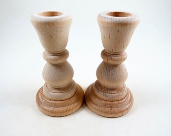 2 Wood Candle Holders, Candlesticks, DIY Wedding, Wedding Supplies, 4 inch unfinished Wooden Candle Holders for DIY