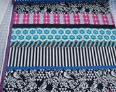 """Gara BLACK BIRDS Stripe 58"""" Wide Echino Decoro Japanese Fabric - Lightweight Sheeting Japan JGA-95210-11D Pink Turquoise by Etsuko Furuya"""