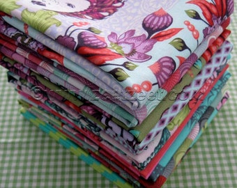 "10 FQ Set Plum & Tart - Free Spirit ELIZABETH 16th Century Selfie - Tula Pink - Fat quarters 18"" x 22"" Precut Cotton Quilt Fabric"