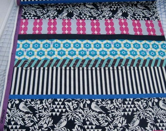 "2.5 Yards Gara BLACK BIRDS Stripe 58"" Wide Echino Decoro Japanese Fabric - Lightweight Sheeting Japan JGA-95210-11D Turquoise Etsuko Furuya"