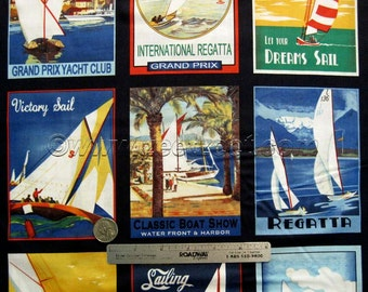 RARE - SAILBOAT POSTERS Sail Away Windham - Sailaway Nautical Coastal Cotton Quilt Fabric - by the Yard - Out of Print, Last Piece