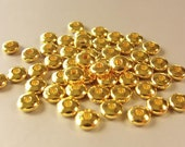 50 pcs Gold Plated  Brass Spacer beads, Donut Rondell Smooth Spacer Bead, Seamless, 5x2mm Sp1004