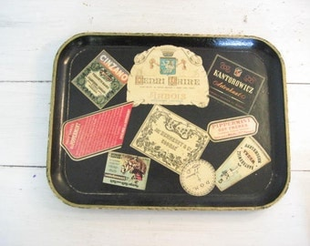 Vintage Black Wood Bar Tray with Liquor Labels- Made in Japan