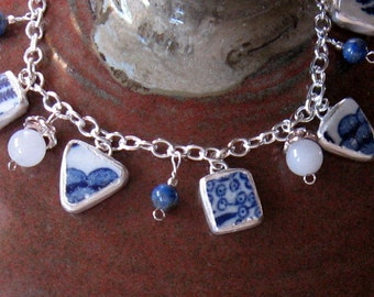 "Vintage Broken China, Ceramic Shard Bracelet, Beads, Sterling Silver, Stone Beads, ""Japanese"" Pattern"