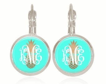 Monogram Earrings, Glass Dome, Drop Style, Turquoise, Gold Pineapple, Personalized Gift (Pineapple on Turquoise - Drop Style Earrings)