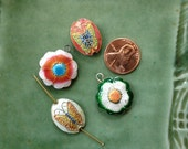 Cloisonne Beads - 4 pieces - 2 Flowers - 2 Butterflies - 2 Pair