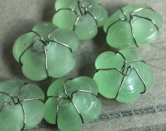 Wire Wrapped Sea Glass Beads -Beautiful Sea5 Green Glass Flower Beads Wrapped in Silver Wire - Jewelry Making Mixed Media Supplies