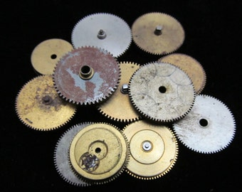 12 Antique Vintage Clock Watch Parts Cogs Gears Assemblage Steampunk Industrial Art Goodies CG 82
