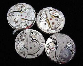 Vintage Antique Round Watch Movements Steampunk Altered Art Assemblage N 72