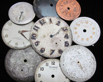 Vintage Antique Watch Dials Steampunk  Faces Parts Altered Art Industrial  L 28