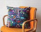 Stunning Hand Embroidered Rainforest Pillow w/ Insert