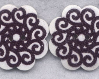 Swirly Wood Buttons Wooden Buttons Black and White Swirl 36mm (1 1/2 inch) Set of 2/BT299