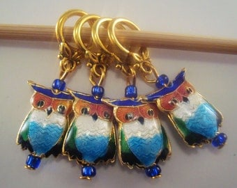 Owl Stitch Markers Cloisonne Enameled Owls Set of 4/SM184