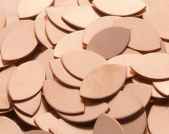 Copper Football / Eye / Leaf / Rugby Ball Shape - 18 Gauge, stamping blanks, metal blanks, leaf oval
