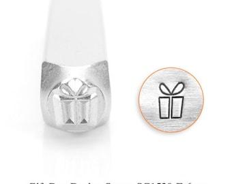 Gift Box Design Stamp, SC1520-F-6MM, Present, Winter Design Stamps, Metal Stamp, 6mm, Carbon Steel Design Stamp, ImpressArt, Bopper