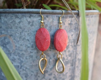 Pink Coral Link Earrings