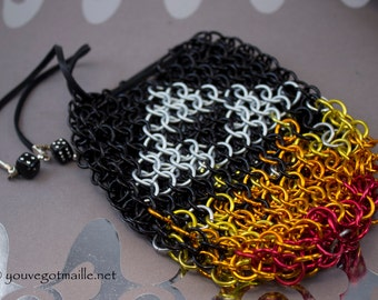 Chainmaille Triforce Dice Bag With Flames