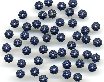 Vintage Flower Beads 6mm Navy Blue Rondelle Spacers 48 Pcs.