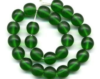 Vintage Emerald Green Beads 7.5mm Translucent Matte Glass Rounds 25 Pcs.