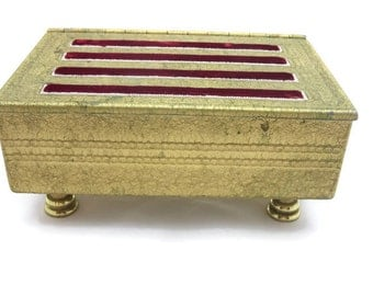 Velvet Lined Jewelry Box - Mid Century, Gold, Seed Pearl