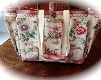 Shabby Chic Cabbage Rose Tote Bag for Travel, Crafts, Garden, Overnight, Baby or Knitting