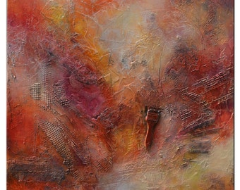 Original Red Painting, Abstract Red Painting, Large Red Painting, Textural Original Painting, square Abstract Painting, Unique painting