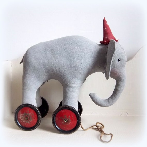 Large old circus elephant on vintage by northfieldprimitives