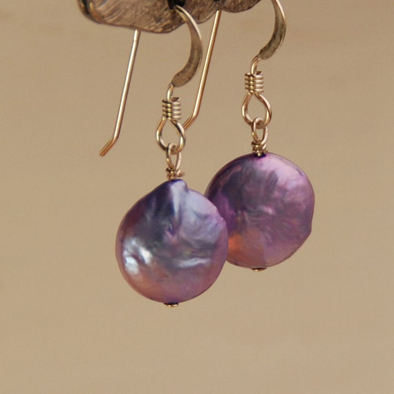 Lavender Coin Pearl Earring Drops, Purple Pearl Earring, Coin Pearl in Sterling Silver for Bridesmaids, Wedding Jewelry, Bridesmaid Jewelry