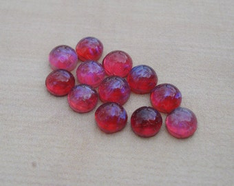 7mm Mexican Opal Dragon's Breath Czech Preciosa Flat Back Round Glass Cabs or Stones (6 pieces)