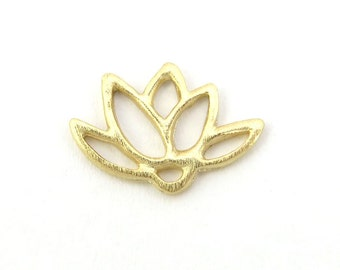 Gold over 925 Sterling Silver Lotus Connector Link 14mm (CG7623)
