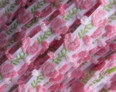 Pink Flowers Roses Woven Ribbon Flower Irregular Edge Trim 3/8 Inch Wide 2 Yards