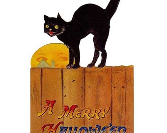 Vintage Halloween Card Made In USA 1990s Black Cat  CD 078