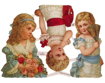 Germany Paper Scraps Lithographed Die Cut Victorian Children  7095