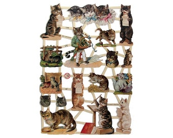 Germany Lithographed Die Cut Victorian Musical Cat Scraps  7288