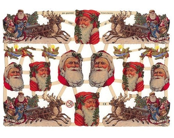 Germany Paper Scraps Lithographed Die Cut Victorian Santa Claus Christmas  7260