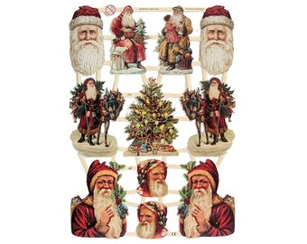 Made In Germany Lithographed Victorian Santa Claus Paper Die Cut Scraps  7285