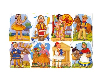 England Paper Lithograph Die Cut Scraps Children Of The World  1422