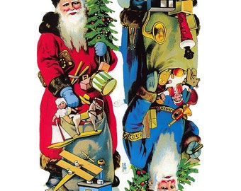 Germany Paper Scraps Lithographed Die Cut Victorian Santa Claus Christmas  7151