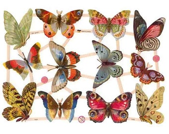 Germany Paper Scraps Lithographed Die Cut Victorian Butterflies  7408