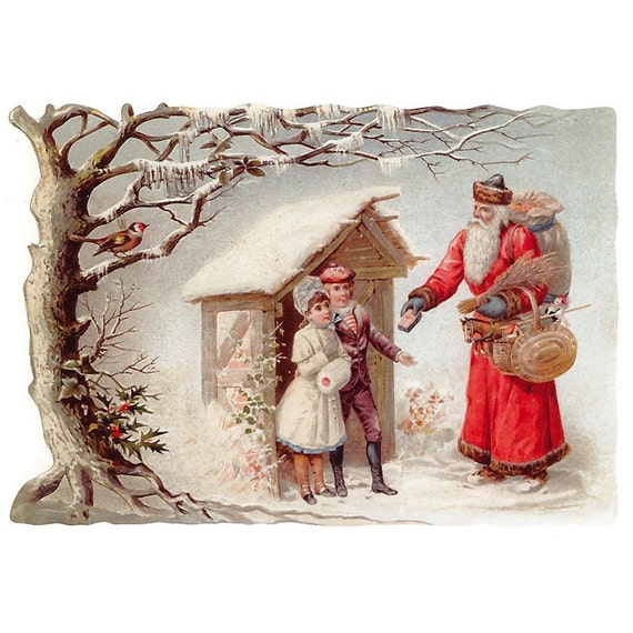 Santa And Children Scrap Made In Germany Large Lithograph Die Cut Christmas  5123