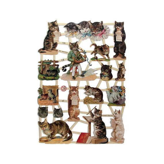 Made In Germany Lithographed Die Cut Victorian Musical Cat Scraps  7288