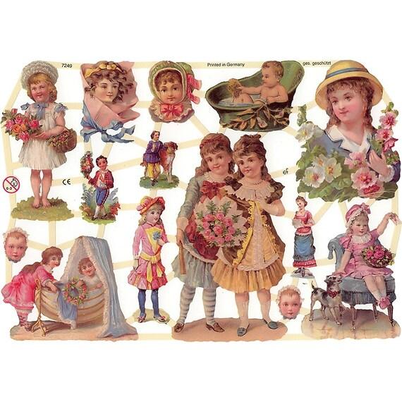 Germany Die Cut Victorian Children Paper Lithograph Scraps  7249